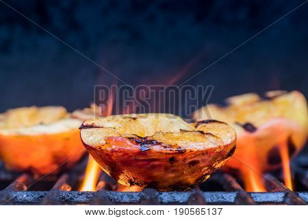 Grilled Peaches And Flames