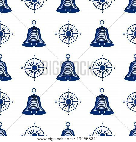 Ship helm seamless pattern marine boat wheel. Vector yacht boat navigation blue texture. Background with silhouette of steering wheel illustration