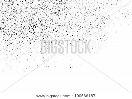 Multiple random black particles over white background. Spotted Particle Dust Fog or Powder Cloud. Simply place over your Illustration to Create Cool Halftone overlay Effect card or poster. Vector illustration