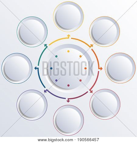 Template for infographic diagram with 8 options circles.