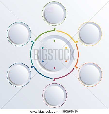 Template for infographic diagram with 6 options circles.