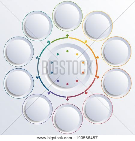 Template for infographic diagram with 10 options circles.