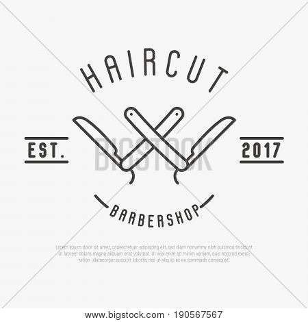 Hipster logo for barber shop with cut throat razor. Minimalistic thin line vector illustration.
