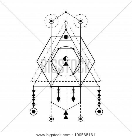 Sacred geometry forms. Magical totem. Alchemy, religion, philosophy hipster elements and logo