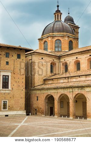 View of medieval castle in Urbino, Marche, Italy