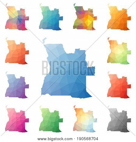 Angola Geometric Polygonal, Mosaic Style Maps Collection. Bright Abstract Tessellation, Low Poly Sty