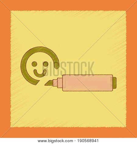 flat shading style icon Kids toy felt-tip marker