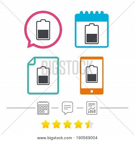 Battery half level sign icon. Low electricity symbol. Calendar, chat speech bubble and report linear icons. Star vote ranking. Vector