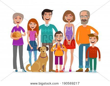 Big happy family. Group of people, parents and children concept. Cartoon vector illustration isolated on white background