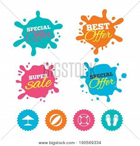 Best offer and sale splash banners. Beach holidays icons. Ball, umbrella and flip-flops sandals signs. Lifebuoy symbol. Web shopping labels. Vector