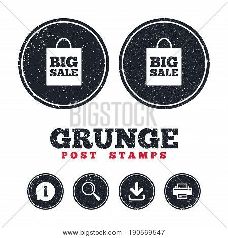 Grunge post stamps. Big sale bag sign icon. Special offer symbol. Information, download and printer signs. Aged texture web buttons. Vector
