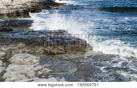 Waves crashing on to the Newport shore