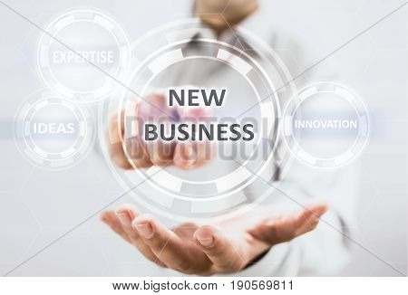 Concept For Starting New Business On Virtual Screen