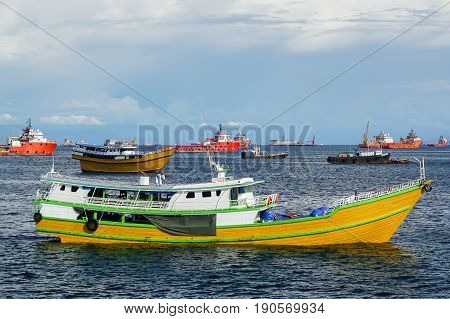 Labuan,Malaysia-Mac 25,2017:View of kumpit boat from the Philippines in Labuan free port,Malaysia.This a Philippines bound barter trade boat laden with rice and sugar