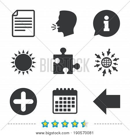 Plus add circle and puzzle piece icons. Document file and back arrow sign symbols. Information, go to web and calendar icons. Sun and loud speak symbol. Vector