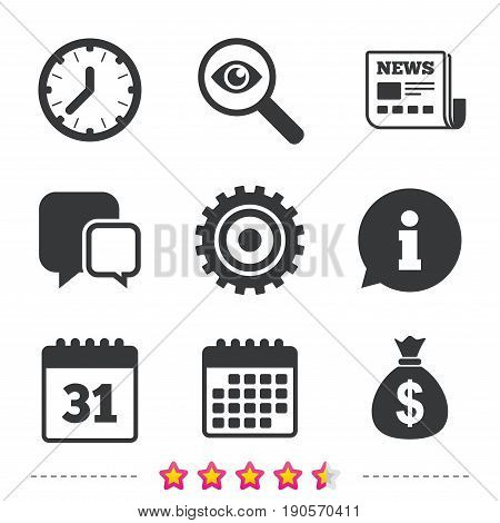 Business icons. Calendar and mechanical clock signs. Dollar money bag and gear symbols. Newspaper, information and calendar icons. Investigate magnifier, chat symbol. Vector