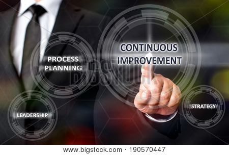 Continuous Improvement Concept Man Touching On Virtual Screen