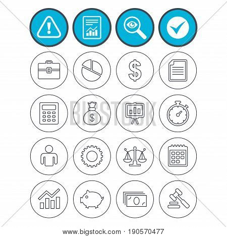 Report, check tick and attention signs. Business icons. Businessman, briefcase and documents symbols. Presentation pie chart, money bag and justice scales thin outline signs. Dollar USD currency