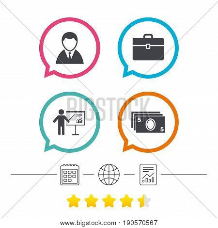 Businessman icons. Human silhouette and cash money signs. Case and presentation with chart symbols. Calendar, internet globe and report linear icons. Star vote ranking. Vector
