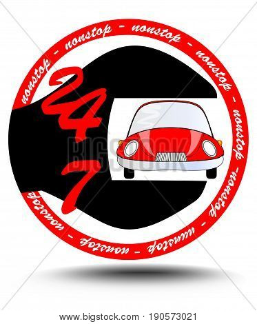 Nonstop car service station with red car inside spanner circle emblem suitable as logotyp eps10 vector