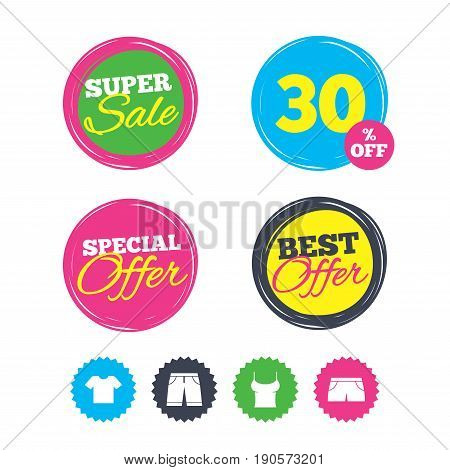 Super sale and best offer stickers. Clothes icons. T-shirt and bermuda shorts signs. Swimming trunks symbol. Shopping labels. Vector