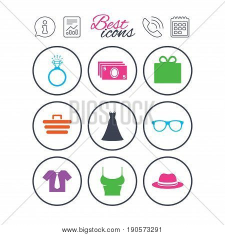 Information, report and calendar signs. Accessories, clothes icons. Shirt with tie, glasses signs. Dress and engagement ring symbols. Phone call symbol. Classic simple flat web icons. Vector
