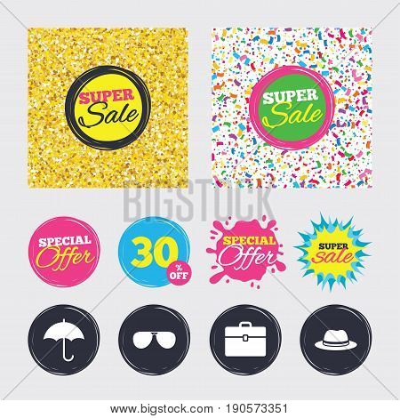 Gold glitter and confetti backgrounds. Covers, posters and flyers design. Clothing accessories icons. Umbrella and sunglasses signs. Headdress hat with business case symbols. Sale banners. Vector