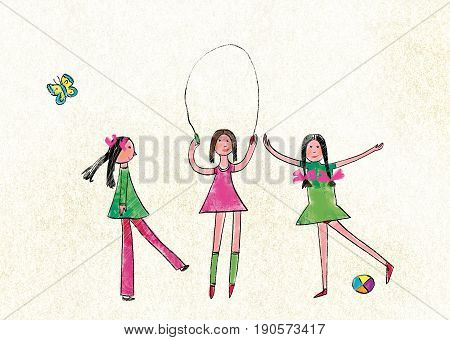 Three girls jump through the rope and play a ball on texture background and a butterfly. Stylization for children's drawing