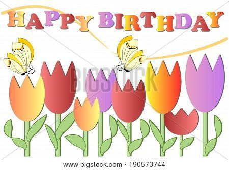 Happy birthday poster with colorful tulips and butterflies eps 10 vector