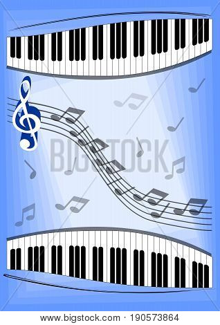 Music theme with notes piano keyboard and treble clef. Vector background for musical leaflet festival invitation or program. Eps 10 vector