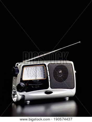 Old time portable radio with room for your type.