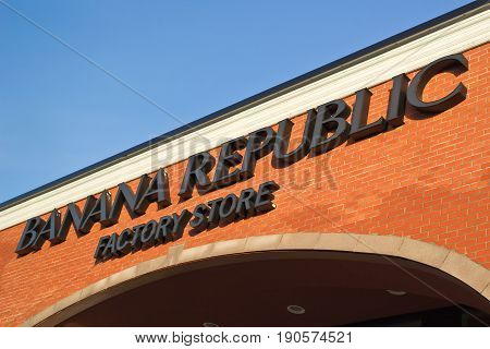DARTMOUTH CANADA - JUNE 10 2017: Banana Republic is a clothing retailer owned by Gap Inc. Banana Republic has over 600 stores in several countries.