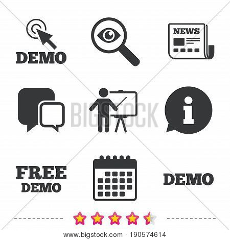 Demo with cursor icon. Presentation billboard sign. Man standing with pointer symbol. Newspaper, information and calendar icons. Investigate magnifier, chat symbol. Vector