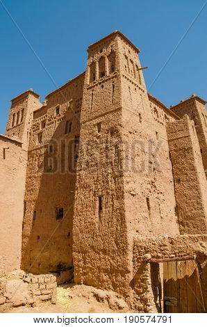 Ancient historical clay town Aid Ben Haddou where Gladiator and other movies were filmed, Morocco, North Africa.