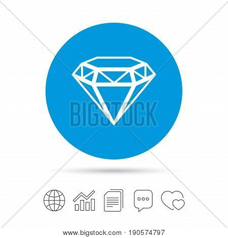 Diamond sign icon. Jewelry symbol. Gem stone. Copy files, chat speech bubble and chart web icons. Vector
