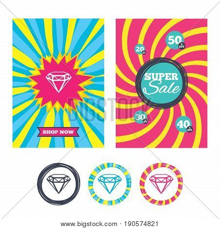 Sale banners and labels. Special offer tags. Diamond sign icon. Jewelry symbol. Gem stone. Colored web buttons. Vector