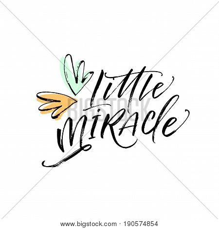 Little miracle postcard. Ink illustration. Modern brush calligraphy. Isolated on white background.