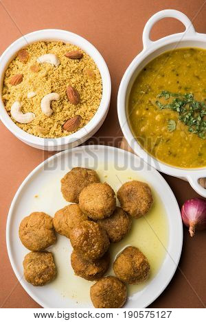 Traditional Rajasthani Food Daal Baati churma. Indian Food.