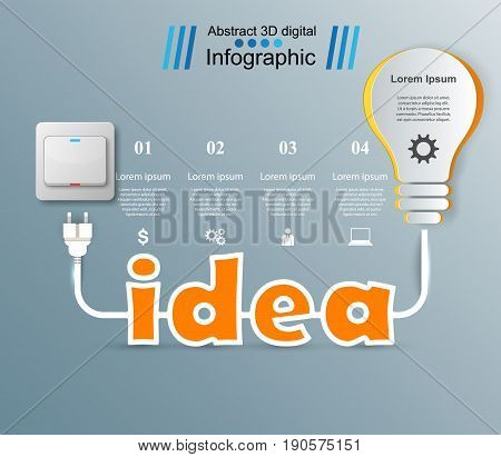 Infographic design template and marketing icons. Bulb icon. Light, idea icon.