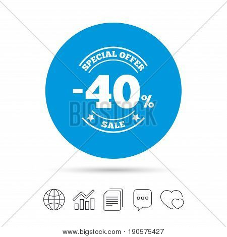 40 percent discount sign icon. Sale symbol. Special offer label. Copy files, chat speech bubble and chart web icons. Vector
