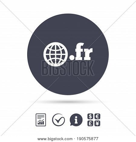 Domain FR sign icon. Top-level internet domain symbol with globe. Report document, information and check tick icons. Currency exchange. Vector