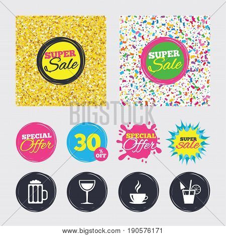 Gold glitter and confetti backgrounds. Covers, posters and flyers design. Drinks icons. Coffee cup and glass of beer symbols. Wine glass and cocktail signs. Sale banners. Special offer splash. Vector