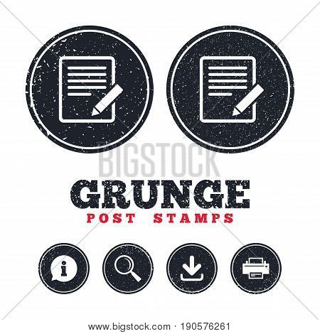 Grunge post stamps. Edit document sign icon. Edit content button. Information, download and printer signs. Aged texture web buttons. Vector