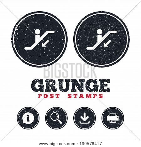 Grunge post stamps. Escalator staircase icon. Elevator moving stairs down symbol. Information, download and printer signs. Aged texture web buttons. Vector