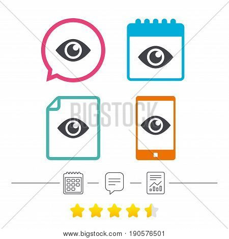 Eye sign icon. Publish content button. Visibility. Calendar, chat speech bubble and report linear icons. Star vote ranking. Vector