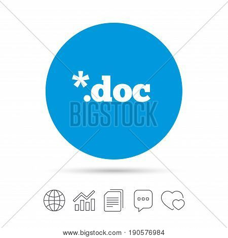 File document icon. Download doc button. Doc file extension symbol. Copy files, chat speech bubble and chart web icons. Vector