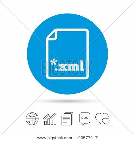 File document icon. Download XML button. XML file extension symbol. Copy files, chat speech bubble and chart web icons. Vector