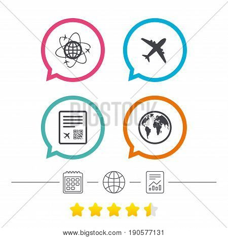 Airplane icons. World globe symbol. Boarding pass flight sign. Airport ticket with QR code. Calendar, internet globe and report linear icons. Star vote ranking. Vector