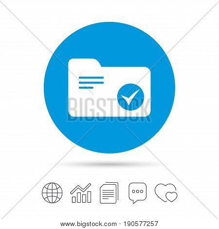 Select document folder sign. Accounting binder symbol. Bookkeeping management. Copy files, chat speech bubble and chart web icons. Vector