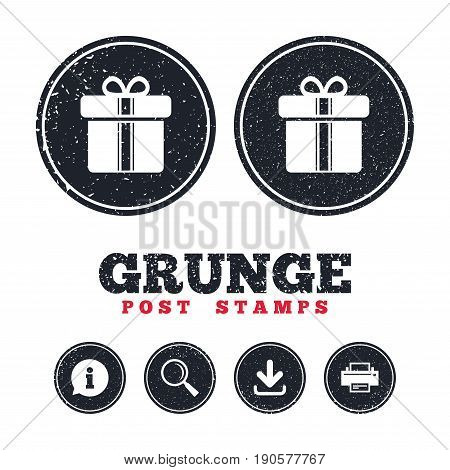 Grunge post stamps. Gift box sign icon. Present with ribbons symbol. Information, download and printer signs. Aged texture web buttons. Vector